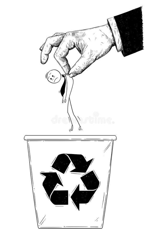 La bande dessinée de l'homme d'affaires ou l'employé de bureau jeté dans réutilisent la poubelle par la main géante illustration stock