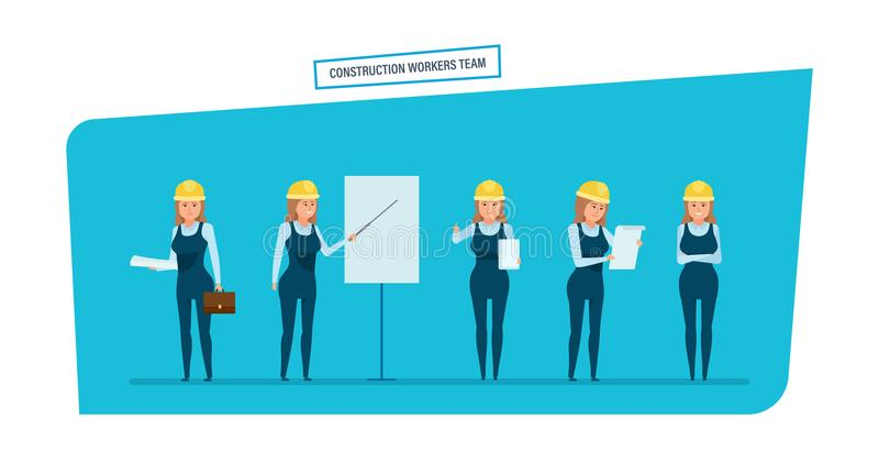 La bande dessinée de personne de caractère d'ingénieurs a placé avec l'équipe de travailleurs de la construction illustration libre de droits
