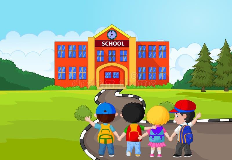 La bande dessinée de petits enfants vont à l'école illustration stock