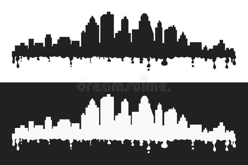 La bande dessinée de vecteur éponge les silhouettes stylisées, le noir et le whte de paysage urbain photographie stock