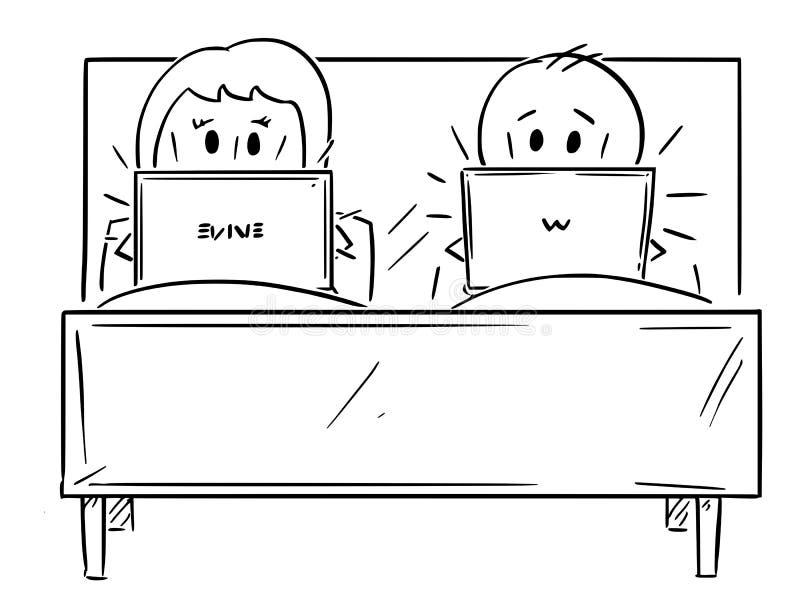 La bande dessinée des couples dans le lit, homme et femme travaillent sur l'ordinateur illustration stock