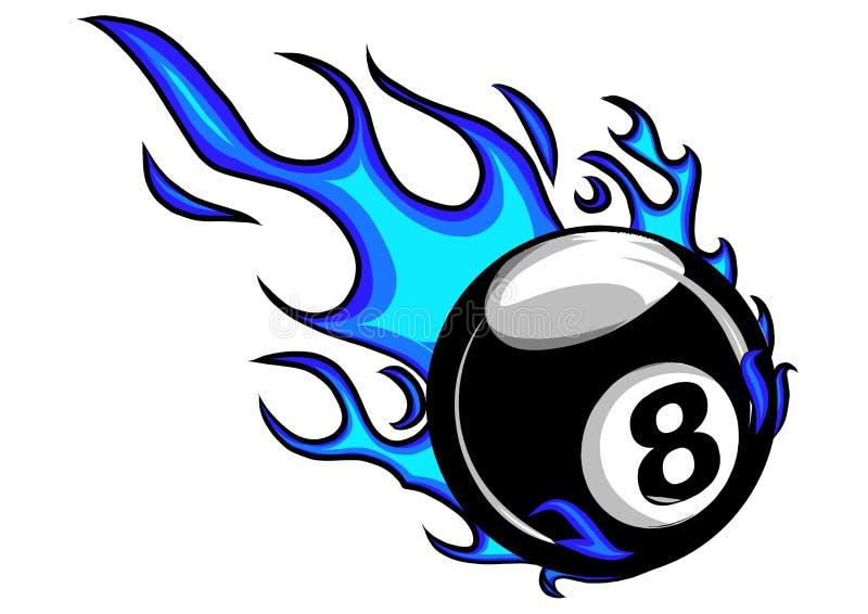 La bande dessinée flamboyante de vecteur de boule des billards huit brûlant avec le feu flambe illustration stock