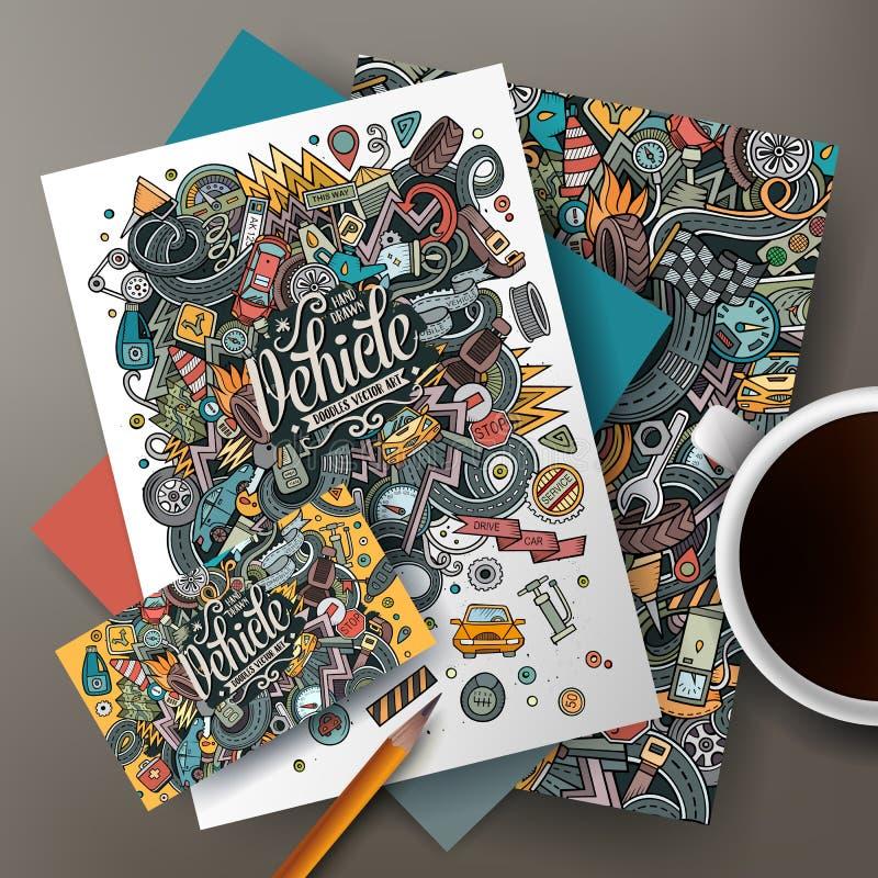 La bande dessinée gribouille l'ensemble automatique d'identité d'entreprise illustration libre de droits