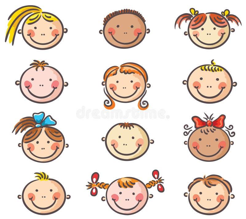 La bande dessinée heureuse badine des visages illustration stock