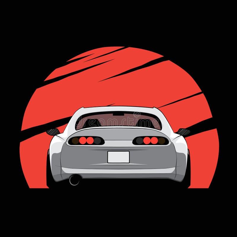 La bande dessinée Japon a accordé la voiture sur le fond rouge du soleil Vue arrière Illustration de vecteur illustration libre de droits