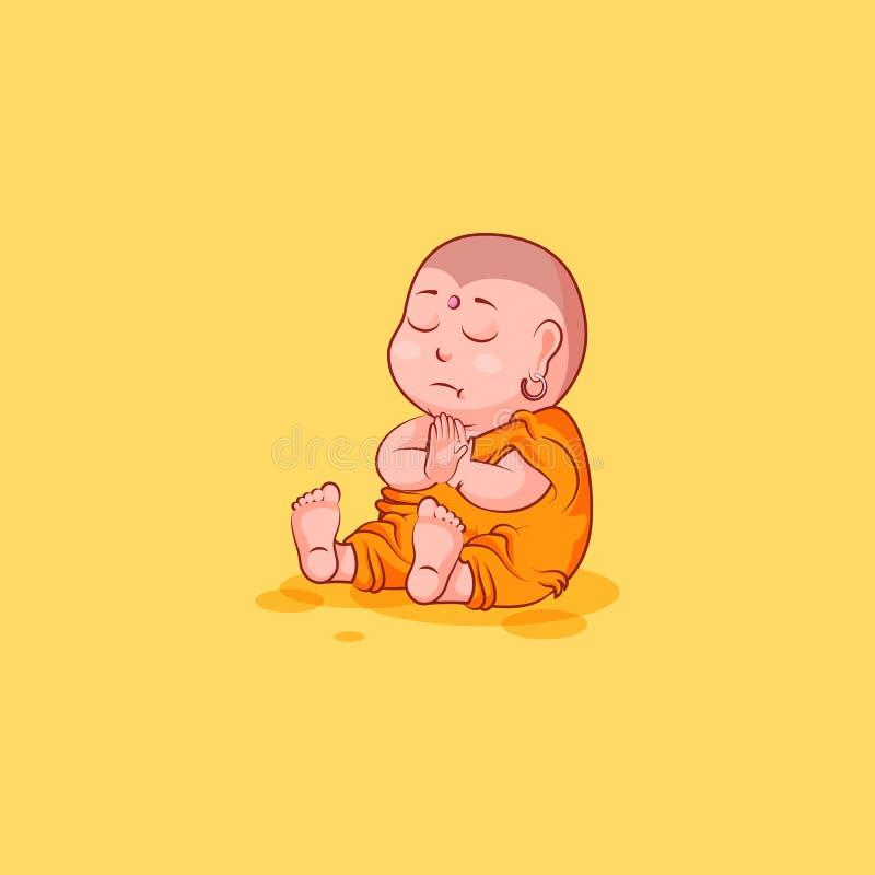 La bande dessinée malheureuse de caractère d'illustration d'isolement par vecteur d'émotion d'émoticône d'emoji d'autocollant méd illustration de vecteur