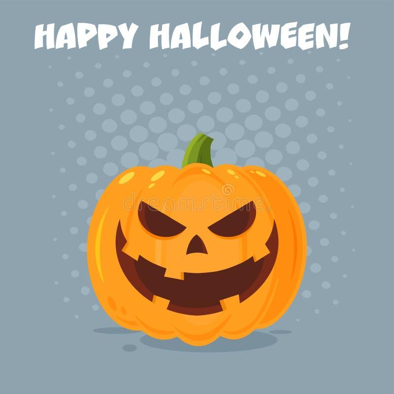 La bande dessinée mauvaise Emoji de potiron de Halloween font face au caractère avec l'expression illustration stock