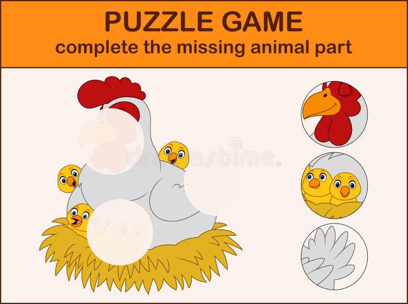 La bande dessinée mignonne de poule avec des poussins dans le nid accomplissent le puzzle et trouvent les parties absentes de la  illustration libre de droits
