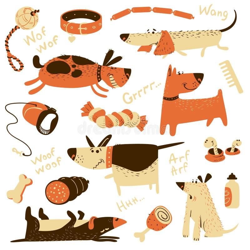 La bande dessinée mignonne a placé avec des chiens et leurs munitions illustration libre de droits