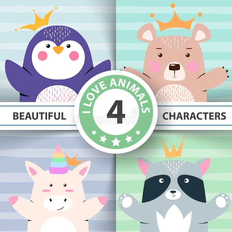 La bande dessinée a placé des animaux - pingouin, ours, licorne, raton laveur illustration de vecteur