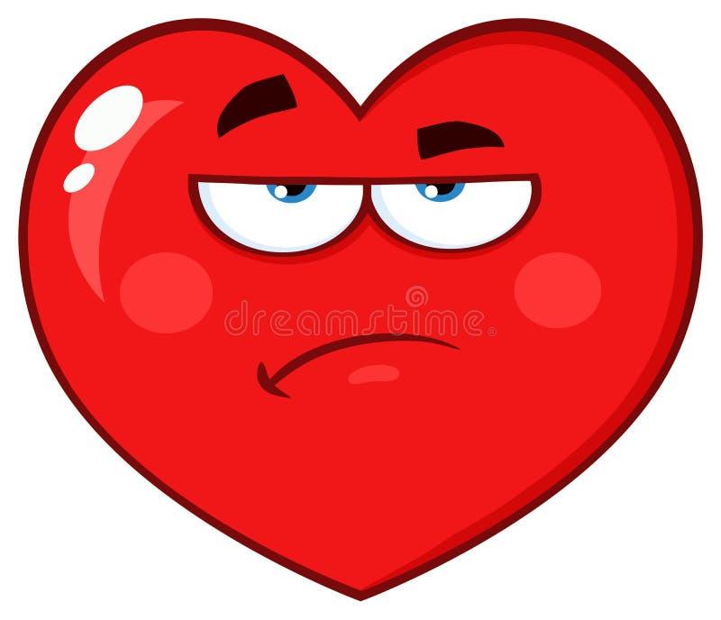 La bande dessinée rouge contrariée Emoji de coeur font face au caractère avec l'expression grincheuse illustration libre de droits
