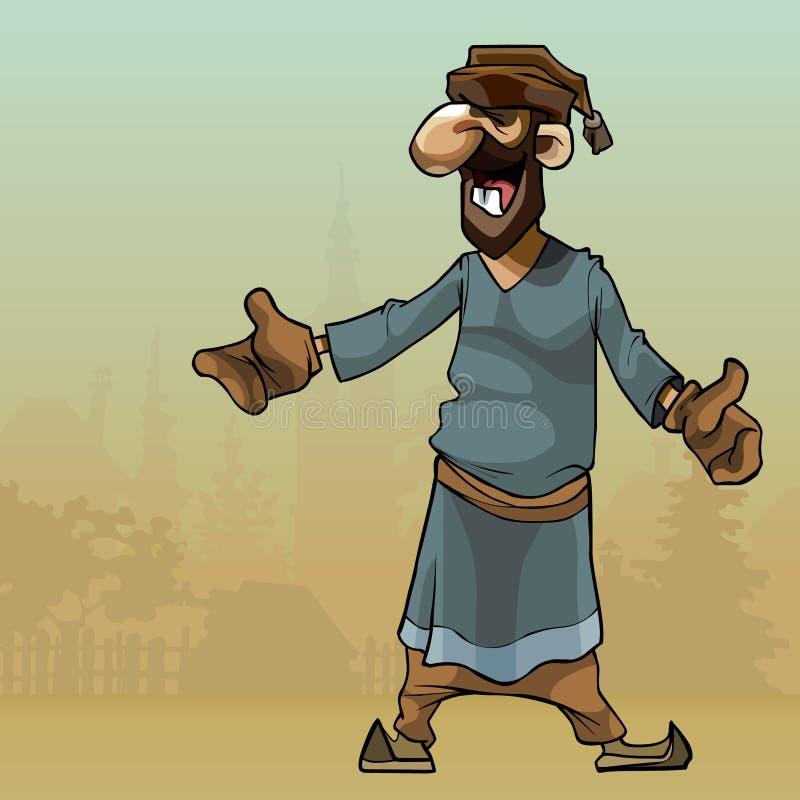 La bande dessinée rustique l'homme dans le manteau se tient dans le village illustration de vecteur