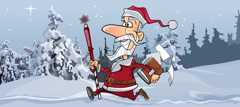 La bande dessinée Santa Claus joyeuse fonctionne rapidement par la forêt d'hiver illustration stock