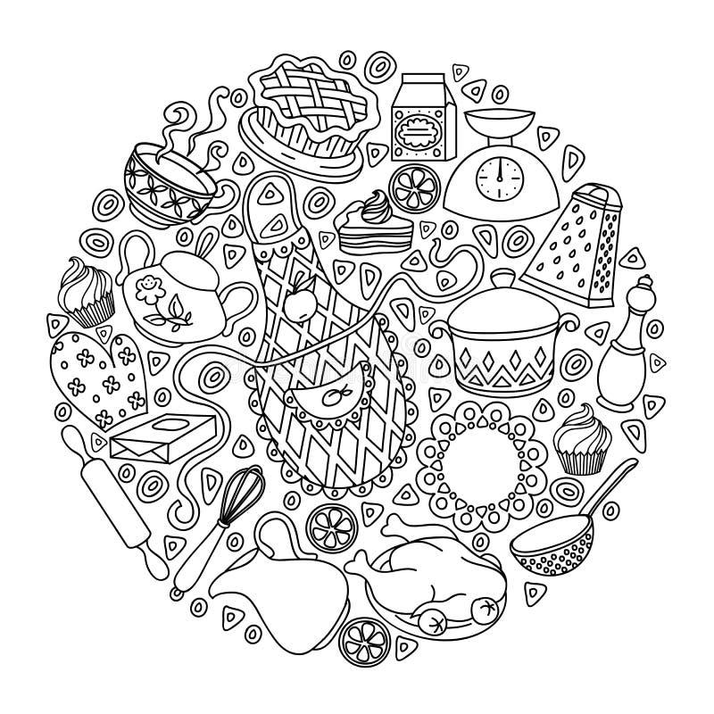 La bande dessinée tirée par la main de griffonnage de vecteur de croquis a placé sur le thème de cuisine illustration libre de droits