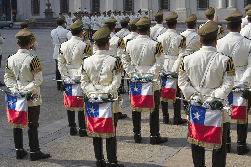 La bande militaire Santiago font le Chili photo stock