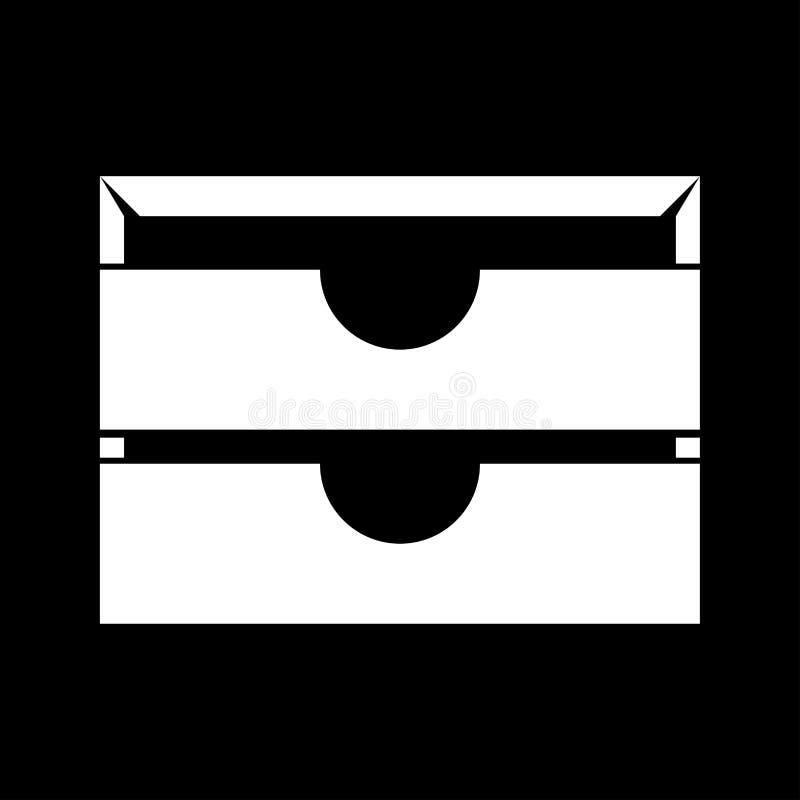 La bandeja del papel inmóvil dos es icono blanco ilustración del vector
