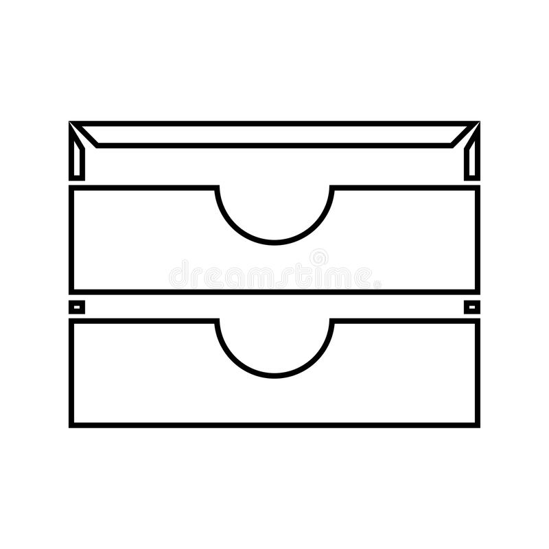 La bandeja del papel inmóvil dos es icono negro stock de ilustración