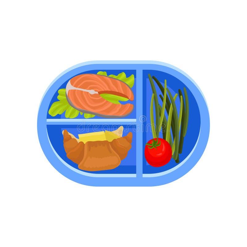 La bandeja oval plástica con los pescados de color salmón en lechuga hojea, los cruasanes frescos, espárrago verde y tomate Comid ilustración del vector