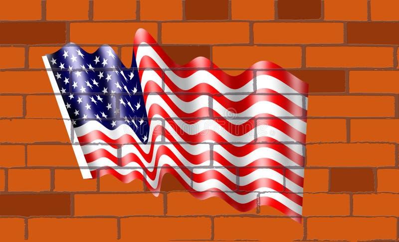 La bandera americana en de los ladrillos del wallof ilustración del vector