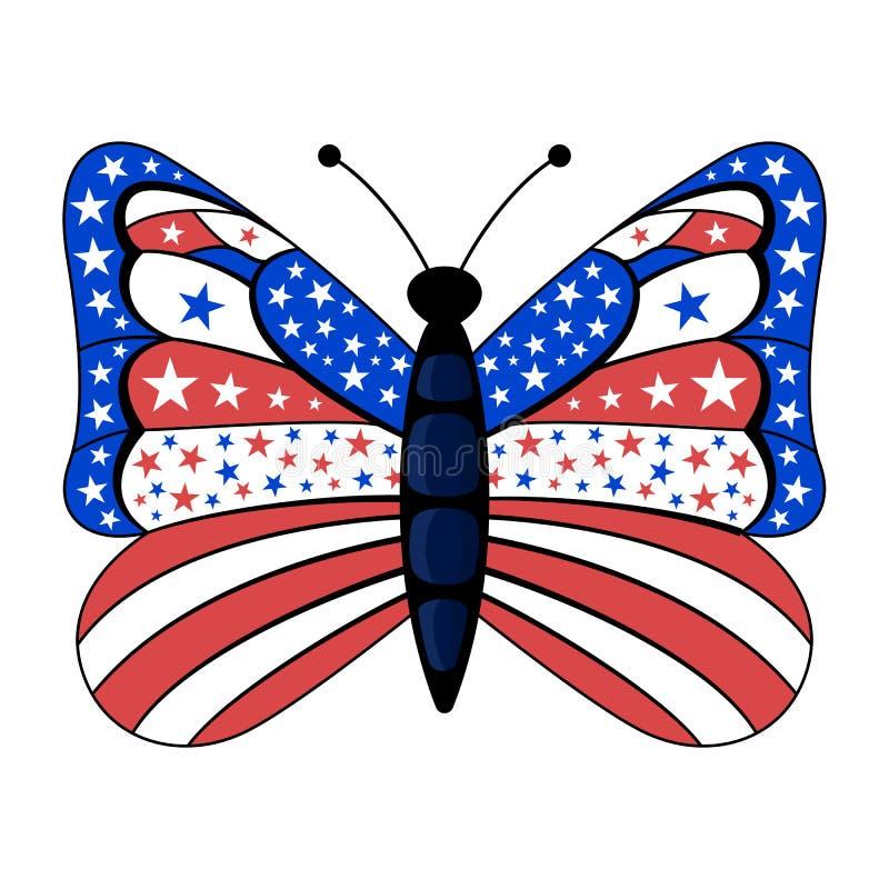 La Bandera Americana Patriótica Colorea La Mariposa Stock De
