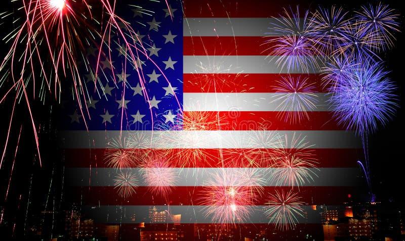 La bandera americana y los fuegos artificiales en el Día de la Independencia stock de ilustración