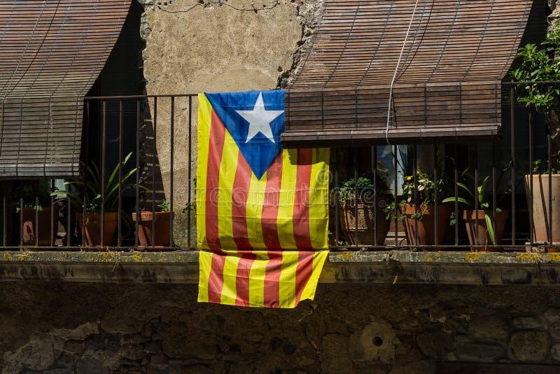 La bandera catalana foto de archivo