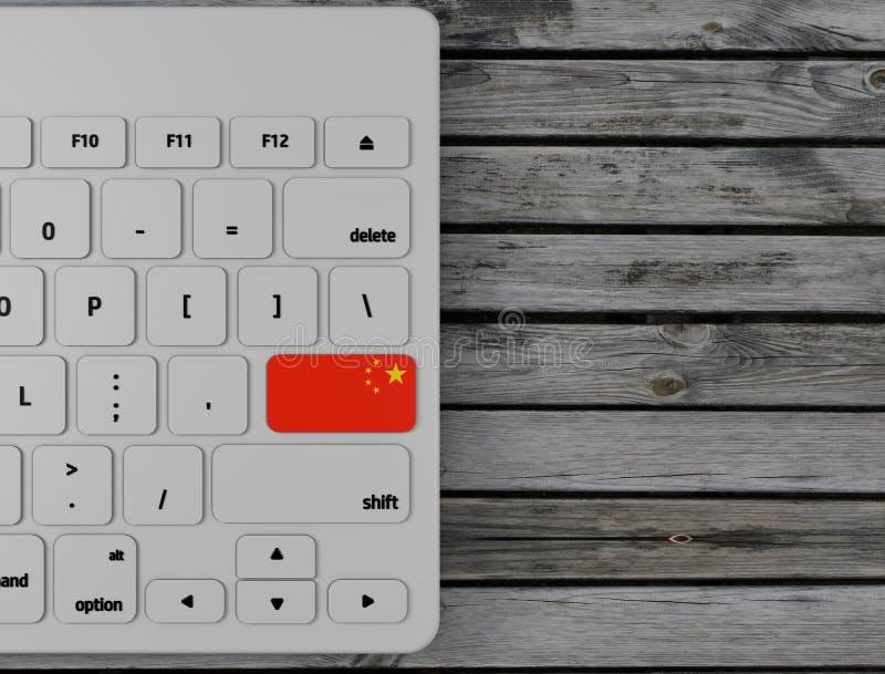 La bandera china entra en dominante en el teclado blanco de la PC, en el fondo de madera 3d rinden imagen de archivo libre de regalías