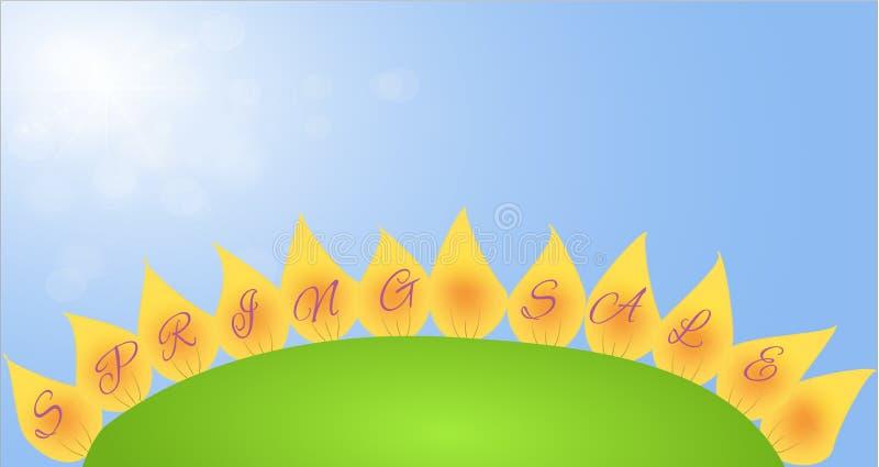 La bandera con venta de la primavera en los pétalos florece stock de ilustración