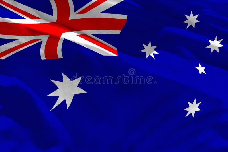 La bandera de Australia que agita para usar como textura o fondo, la bandera está agitando en el viento libre illustration