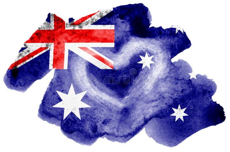 La bandera de Australia se representa en estilo líquido de la acuarela aislada en el fondo blanco imágenes de archivo libres de regalías