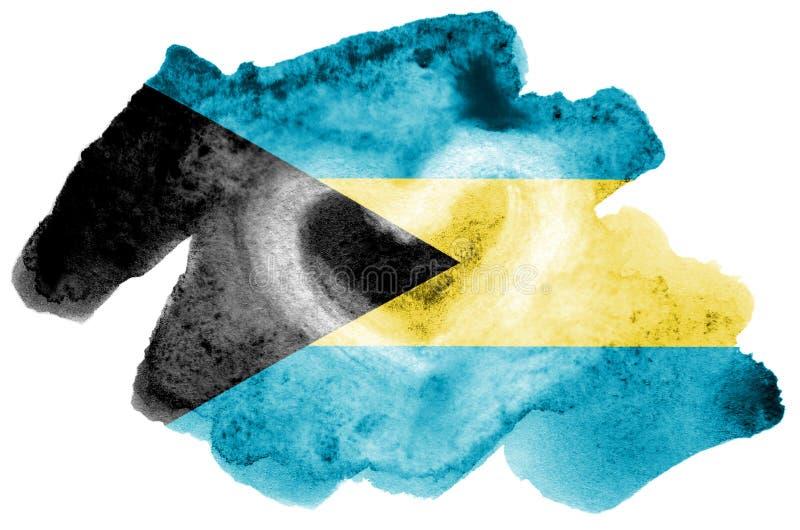 La bandera de Bahamas se representa en estilo líquido de la acuarela aislada en el fondo blanco libre illustration