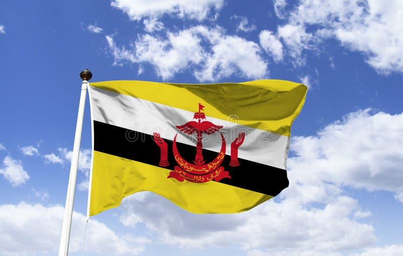 La bandera de Brunei, estado hace Brunei, Morada DA Paz fotos de archivo libres de regalías