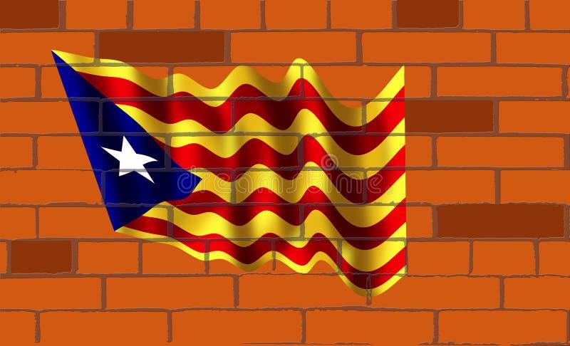 La bandera de Catalunya en la pared de ladrillos ilustración del vector