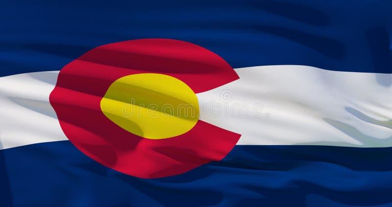 La bandera de Colorado en la textura de la tela, ejemplo realista 3d cubre el marco entero Detalisation de alta calidad, bueno ilustración del vector
