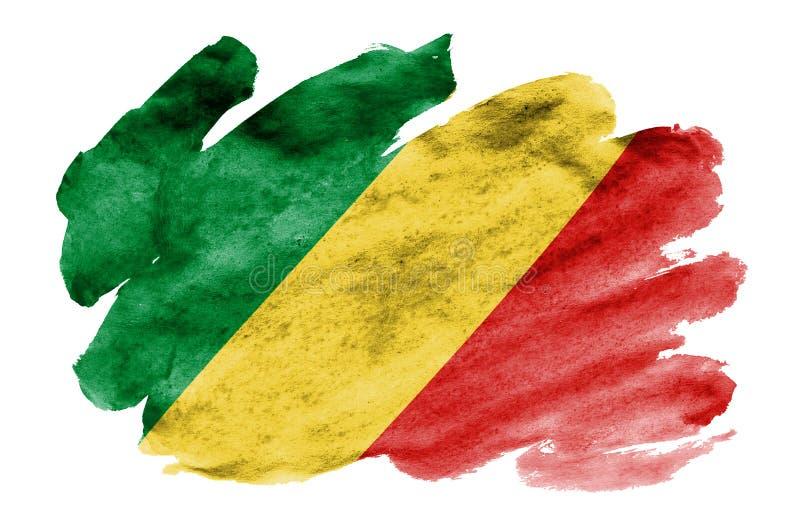 La bandera de Congo se representa en estilo líquido de la acuarela aislada en el fondo blanco imagen de archivo libre de regalías