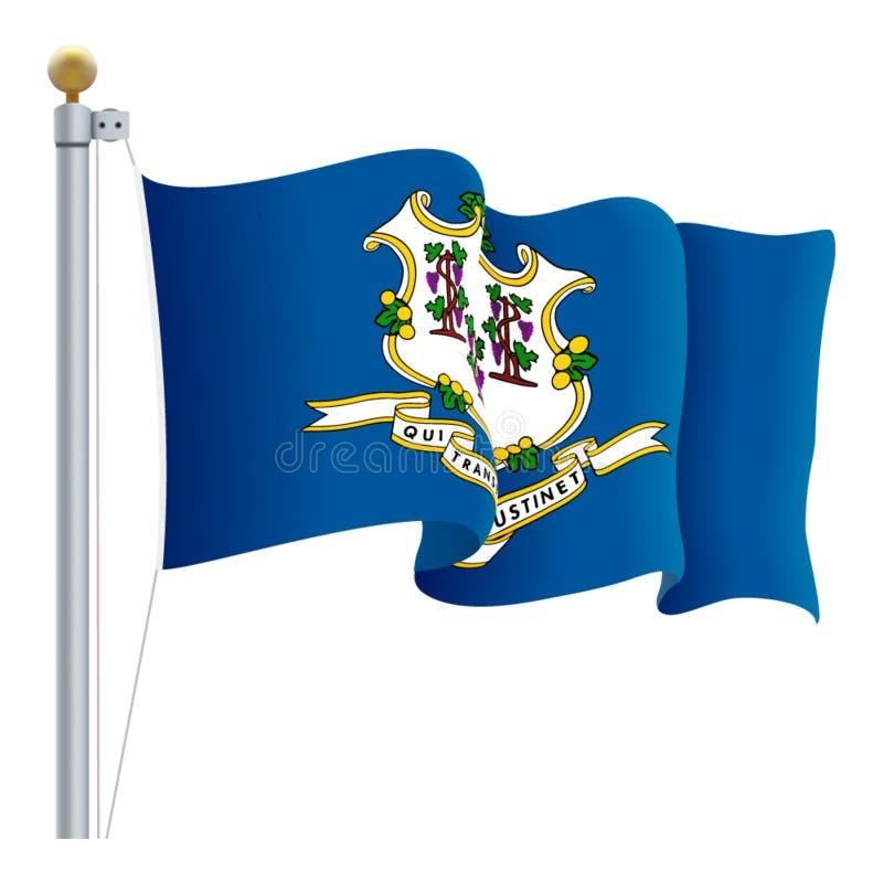 La bandera de Connecticut que agitaba aisló en un fondo blanco Ilustración del vector libre illustration
