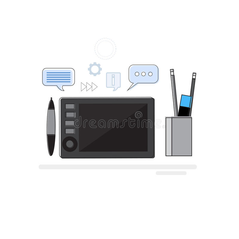 La bandera de Drawing Icon Web del diseñador gráfico de la idea del diseño enrarece la línea stock de ilustración