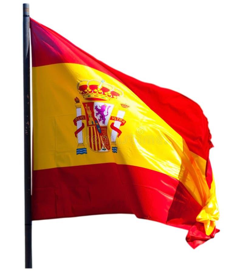 La bandera de España aisló sobre el fondo blanco imágenes de archivo libres de regalías