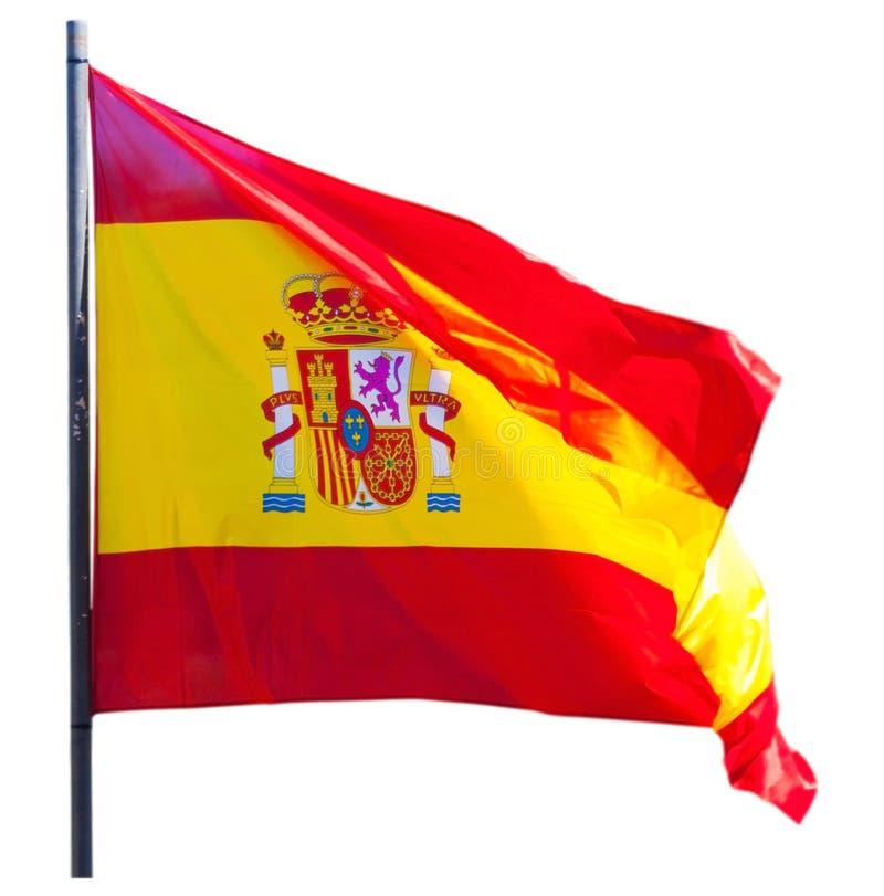 La bandera de España aisló sobre el fondo blanco foto de archivo libre de regalías