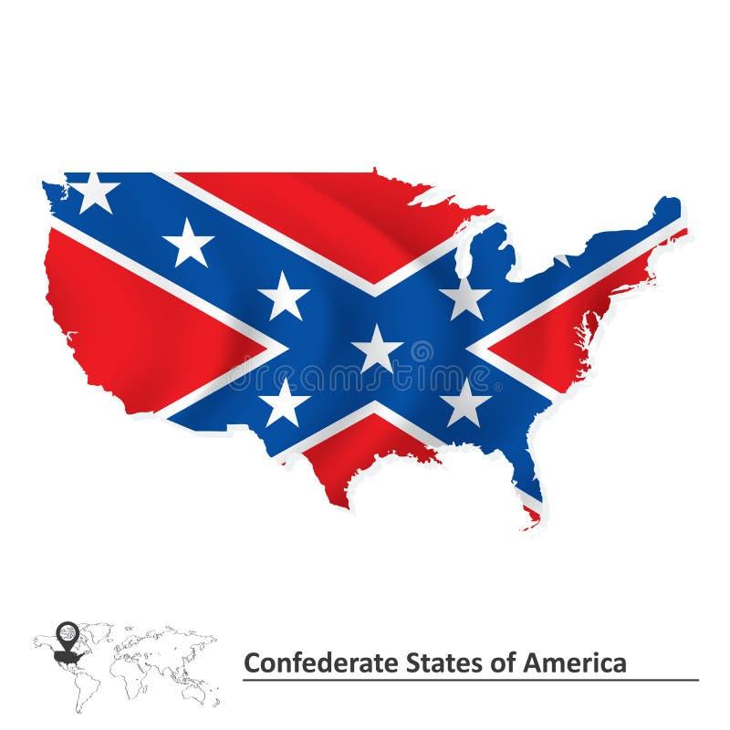 La bandera de estados de América confederados con los E.E.U.U. traza stock de ilustración