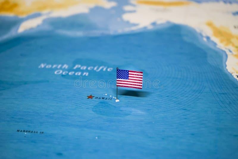 La bandera de Estados Unidos en el mapa del mundo fotos de archivo libres de regalías