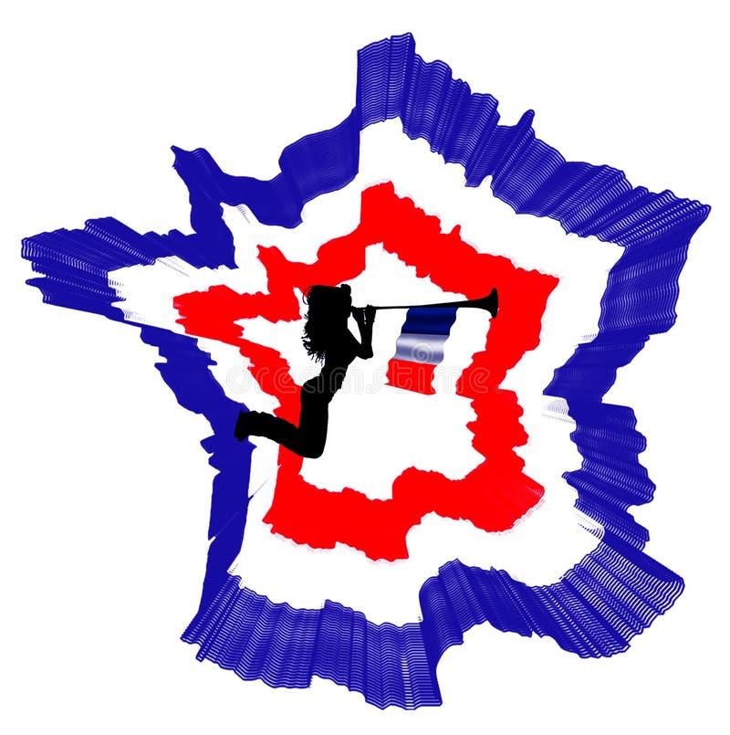 La bandera de Francia es una tricolora y un mapa stock de ilustración