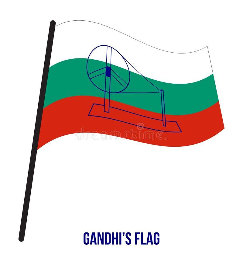 La bandera de Gandhi introdujo en el congreso que resolvía en 1921 el ejemplo del vector en el fondo blanco stock de ilustración