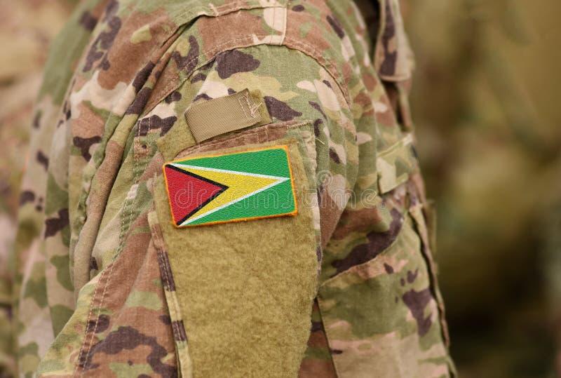 La bandera de Guyana en soldados arma Tro cooperativo de la República de Guyana fotos de archivo libres de regalías