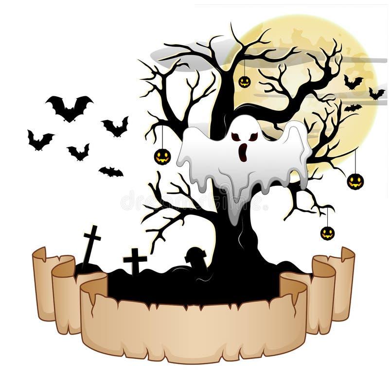 La bandera de Halloween con el fantasma, calabaza colgó el árbol, palos y la luna libre illustration