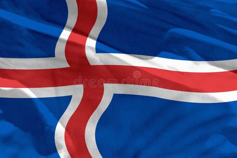 La bandera de Islandia que agita para usar como textura o fondo, la bandera está agitando en el viento stock de ilustración