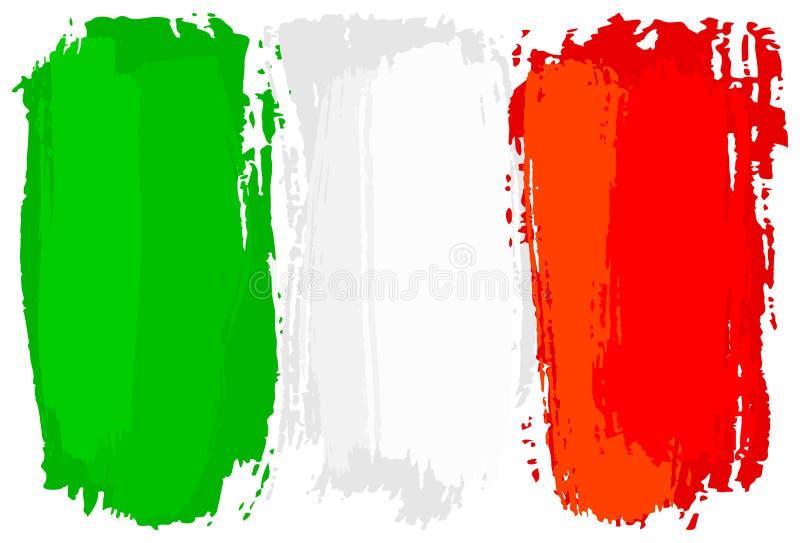 La bandera de Italia pintó con los movimientos del cepillo stock de ilustración