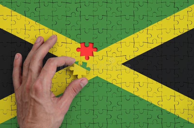 La bandera de Jamaica se representa en un rompecabezas, que la mano del ` s del hombre termina para doblar imagen de archivo libre de regalías