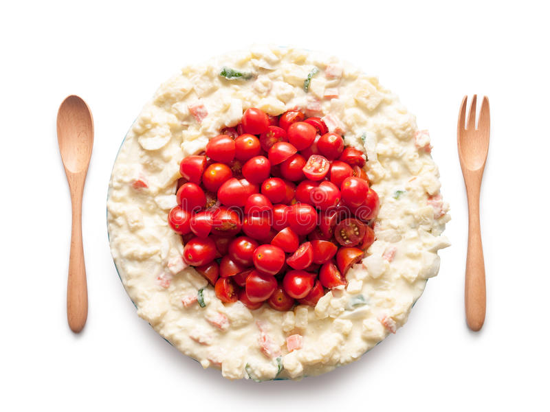 La bandera de Japón hizo del tomate y de la ensalada fotografía de archivo