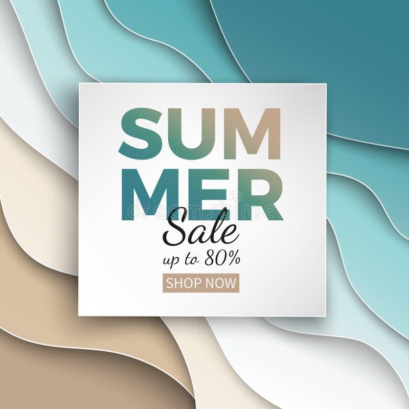 La bandera de la venta del verano con el marco del corte del papel en fondo azul del verano del mar y de la playa con el papel de ilustración del vector